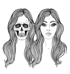dead and alive girls with long hair mysticism vector image