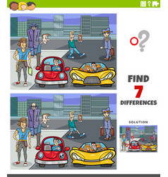 Differences educational game with cartoon people vector