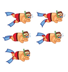 Diver Boy Swimming Sprite vector