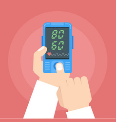 doctor checking heart rate pulse oximeter in vector image