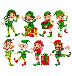 Elf and presents vector image