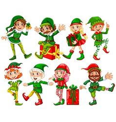 Elf and presents vector