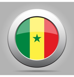Flag of Senegal Shiny metal gray round button vector