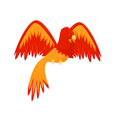 flaming phoenix bird mythical creature fairy tale vector image