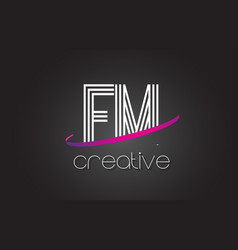 Fm f m letter logo with lines design and purple vector