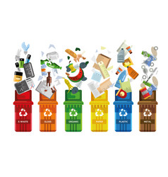 Garbage containers waste management vector