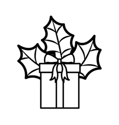 Gift silhouette with bow and christmas leaves vector