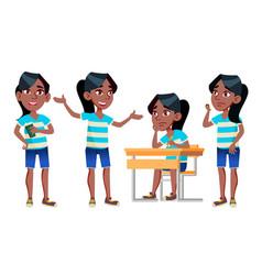 Girl schoolgirl kid poses set black afro vector