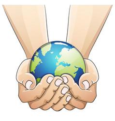 Globe in hands vector