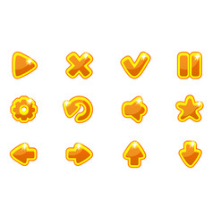 golden collection set glass buttons for ui vector image
