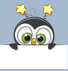 Greeting card cute cartoon penguin boy vector
