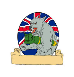 Grey wolf holding bomb union jack drawing vector