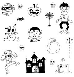 Halloween castle zombie in doodle vector