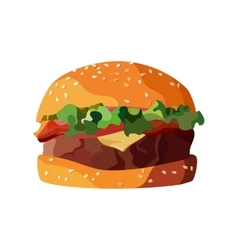 Home made hamburger on isolated white background vector