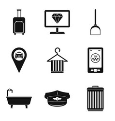 hotelkeeper icons set simple style vector image