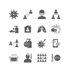 icons set coronavirus covid-19 design vector image