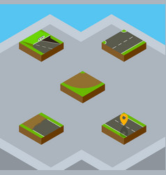 Isometric road set of upwards navigation turn vector
