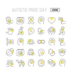 Line icons autistic pride day vector