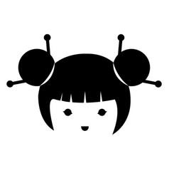 little japanese doll head kawaii character vector image