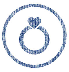 Love ring rounded fabric textured icon vector