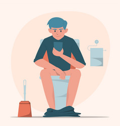 man sitting on toilet with mobile phone vector image