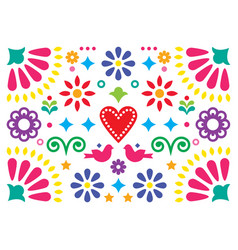 Mexican happy folk art greeting card design vector