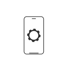 mobile phone and gear smartphone and cog modern vector image
