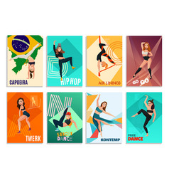 Modern dances cards vector