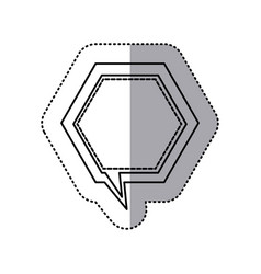 Monochrome contour sticker of hexagon frame vector