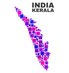 mosaic kerala state map of square elements vector image