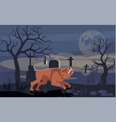 Mythical werewolf is howling at moon vector