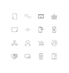 network and database simple linear icons set vector image