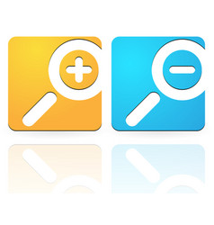 Nice bright zoom in zoom out icons with simple vector