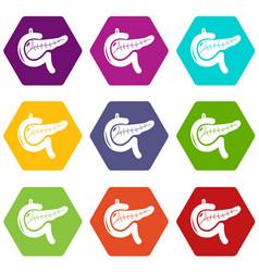 Pancreas icons set 9 vector