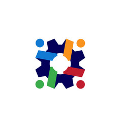 people gear cog cogs logo icon vector image