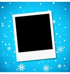Photo frame on a snowy background vector image