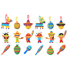 Pinata elements for mexican party children vector