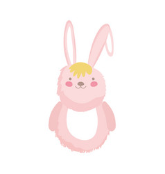 pink fluffy rabbit adorable toy icon vector image