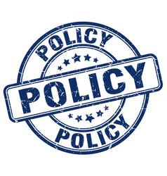 Policy blue grunge round vintage rubber stamp vector