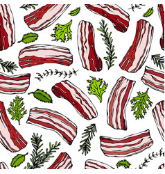 pork bacon and herbs seamless isolated on a white vector image