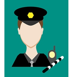 Profession people cop face male uniform avatars in vector