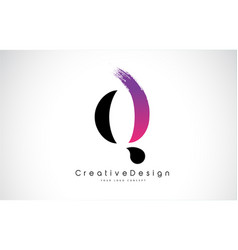 Q letter logo design with creative pink purple vector