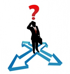 question businessman indecision direction arrows vector image vector image