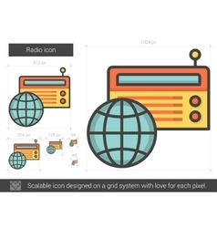 Radio line icon vector