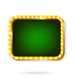 retro light frame green with light bulbs isolated vector image