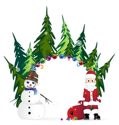 Santa Claus with bag and snowman vector image