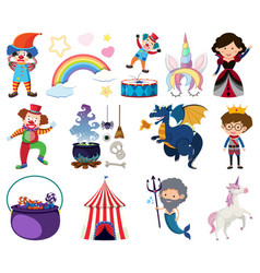 set fairytale characters on white background vector image