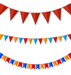 Set of colored flags on the ropes vector image