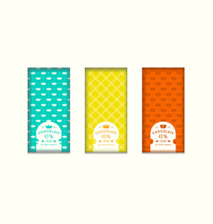 set of seamless pattern and labels for chocolate vector image
