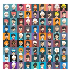 set people icons in flat style with faces 24 b vector image